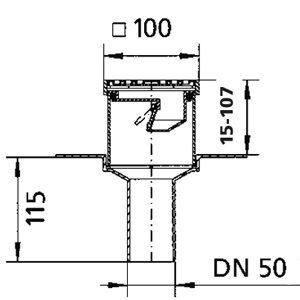 Balkon- und Terrassenablauf DN50 – senkrecht – Edelstahlrost